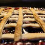 Macro shot of cherry pie