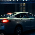 Lights reflected in car