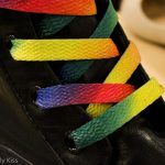 Close up of rainbow boot laces