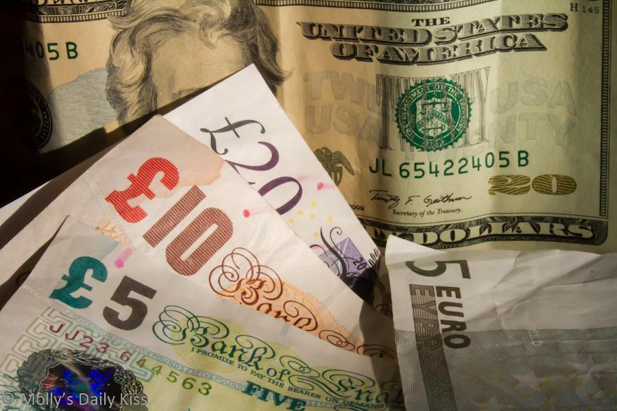 Pounds dollars euro