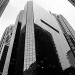 Black and white shot of sky scrapers in Philadelphia