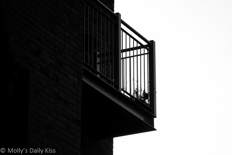 Black and white of an apartment balcony