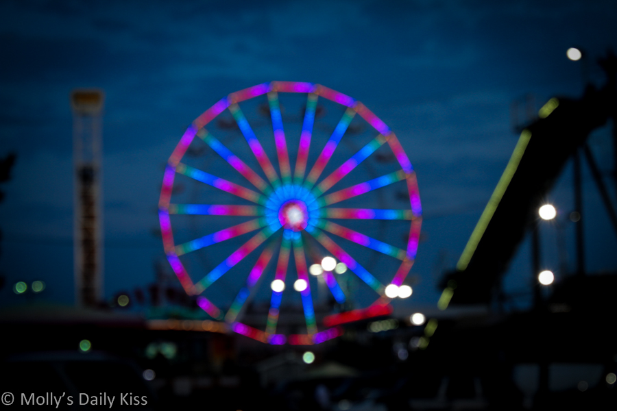 Bokeh of ferris wheel Atlantic City