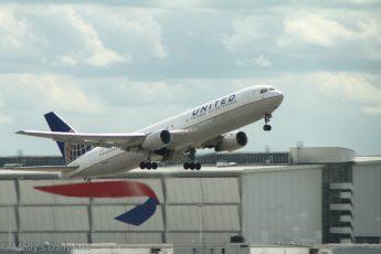 United Airways jet taking off at Heathrow