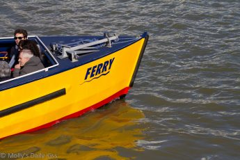 Yellow ferry boat in Bristol Harbour