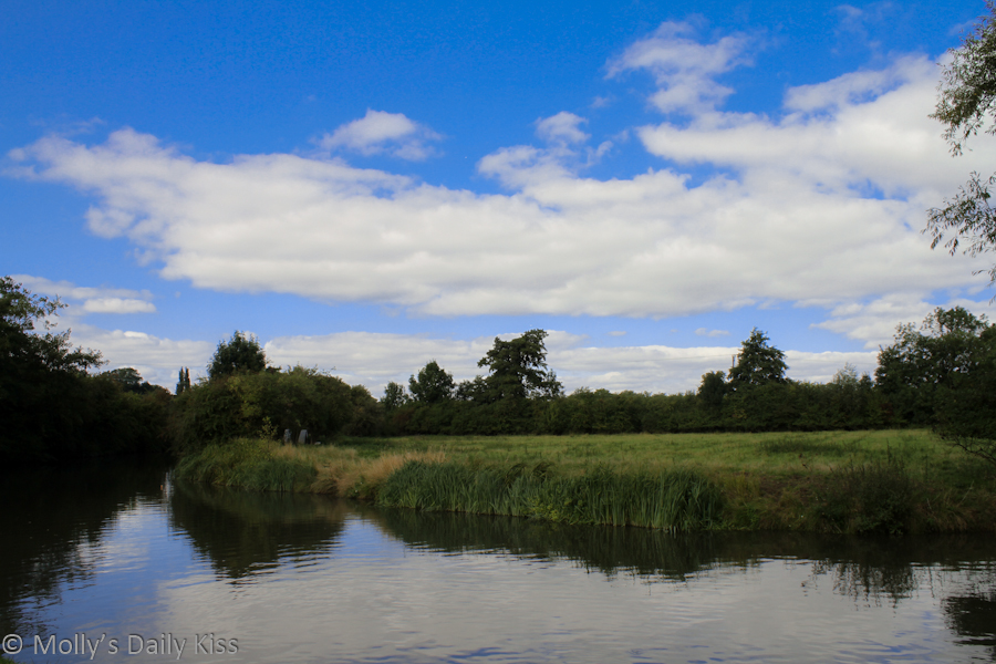 Green field reflected in river Stort