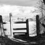 Black and white of stile gate