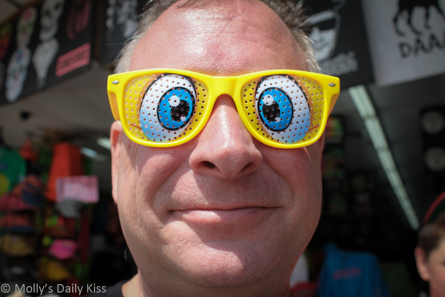Man wearing silly glasses