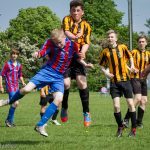 Boy jumping to take header in football