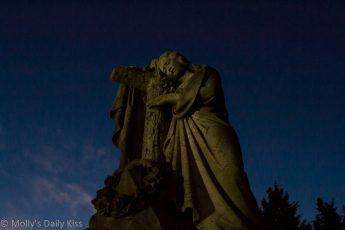Mary grave stone at dusk