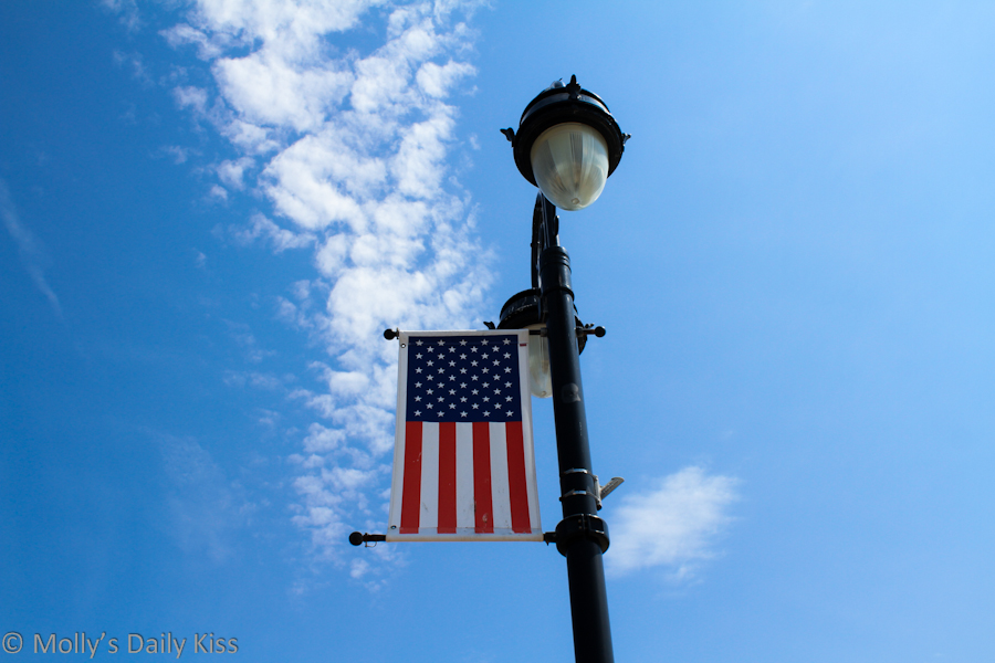 Stars and stripes against blue sky