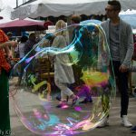 giant bubble with rainbow colours