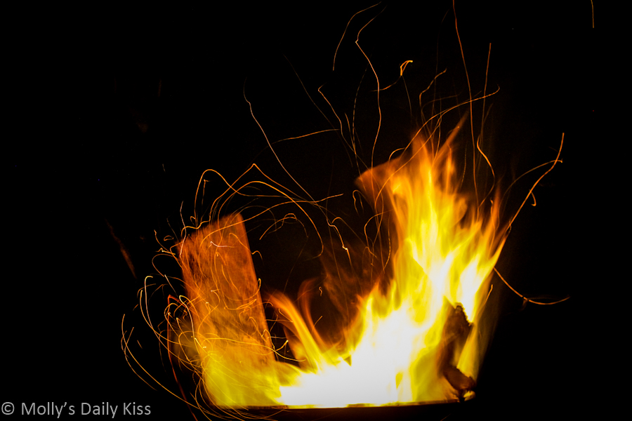 Flames and sparks from bonfire