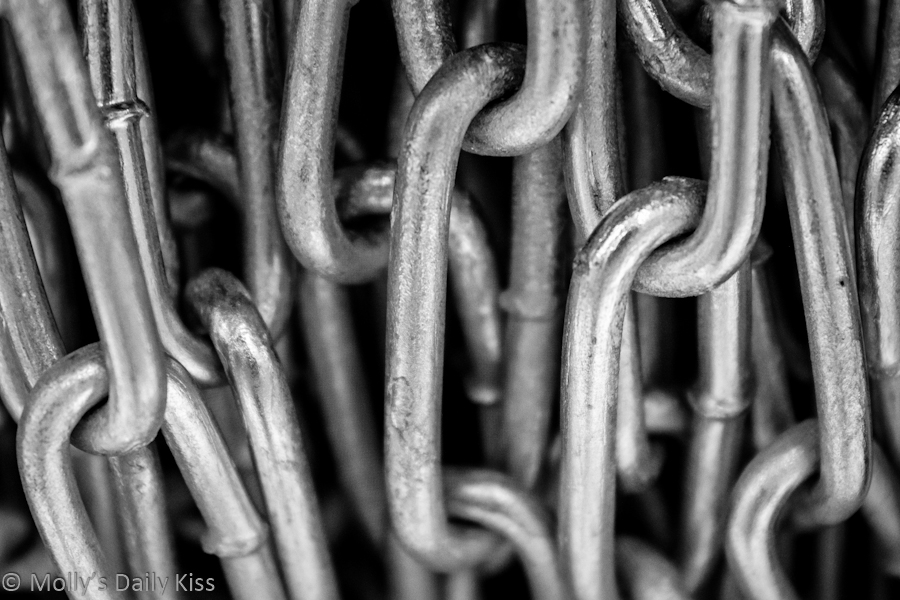 Black and white macro of chains