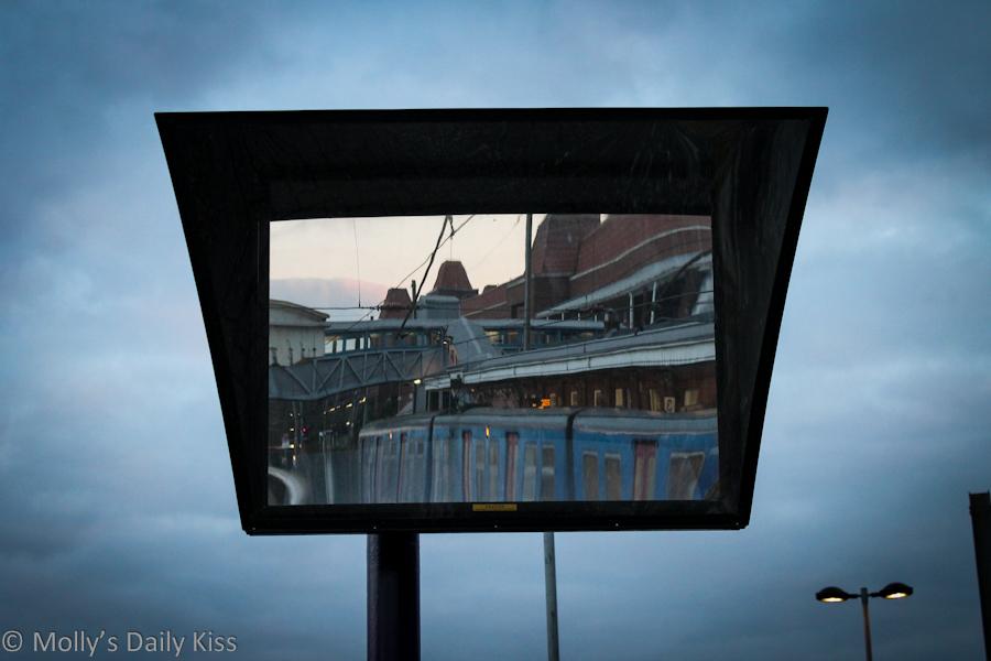 Platform train mirror reflection