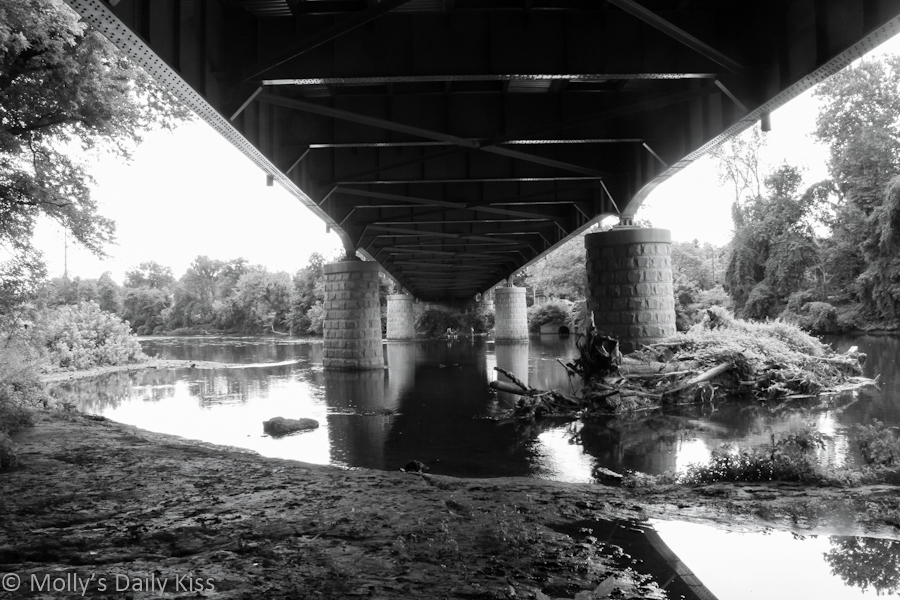 Black and white image under bridge