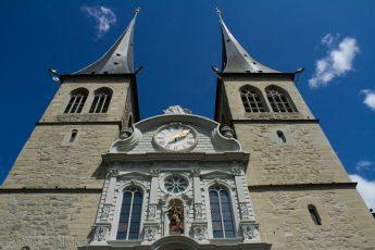 Swiss clock tower against blue skies