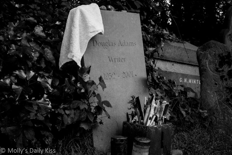 Douglas Adams grave stone Highgate Cemetary