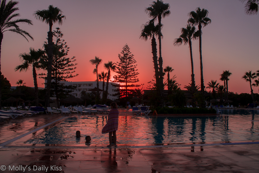 sunset in tunisia by swimming pool Sahara Beach