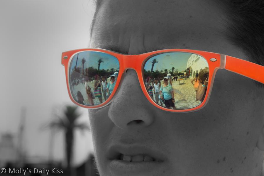 Tunisian Market reflected in sunglasses