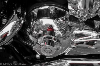 Self Portrait reflection in Harley Davidson Chrome