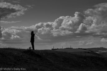 Silhouette of man on Devils Dyke