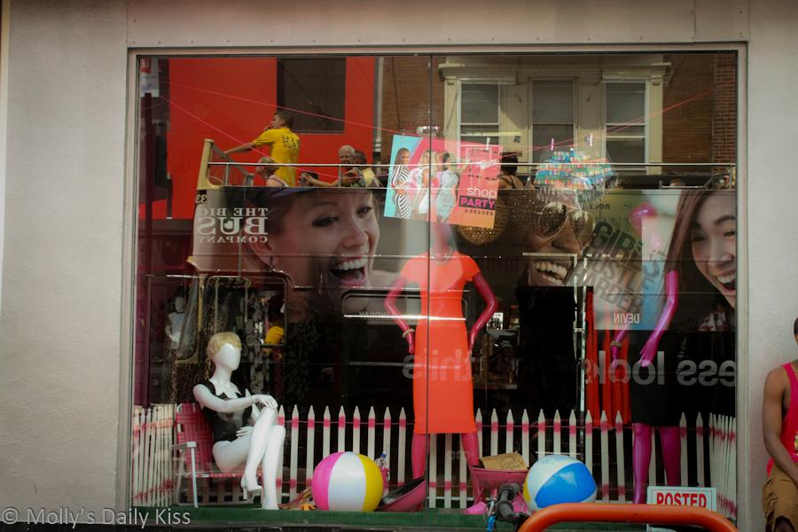 reflection in shop window