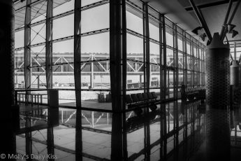 Tunisia airport modern building reflections
