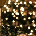 Glas of wine and Christmas tree