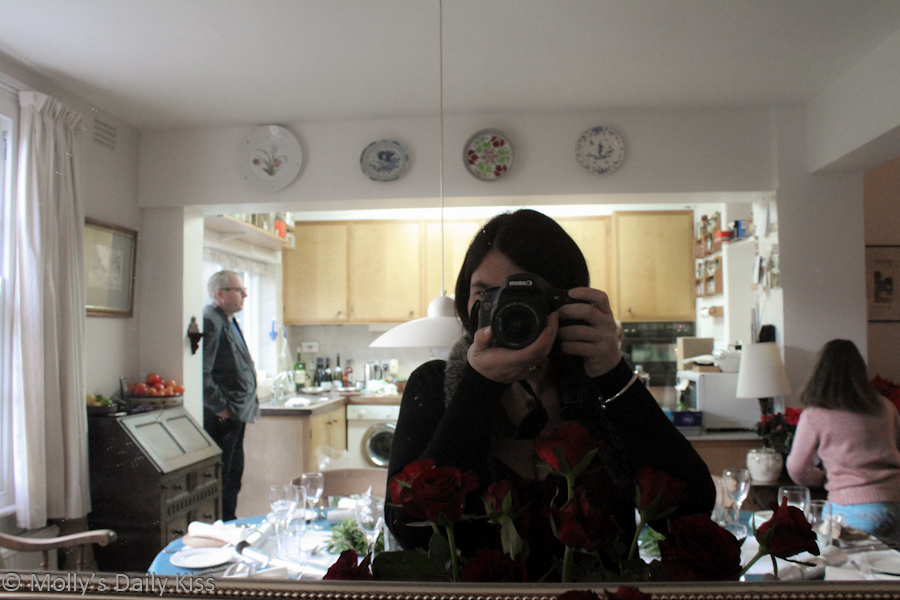 Self portrait in mirror at parents house