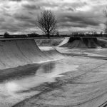 Empty skatepark in the winter black and white