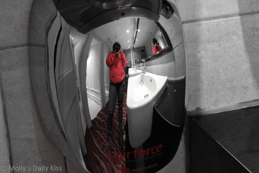 Self portrait in hand dryer