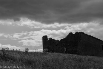 Ruins on Devils Dyke Brighton in Black and White