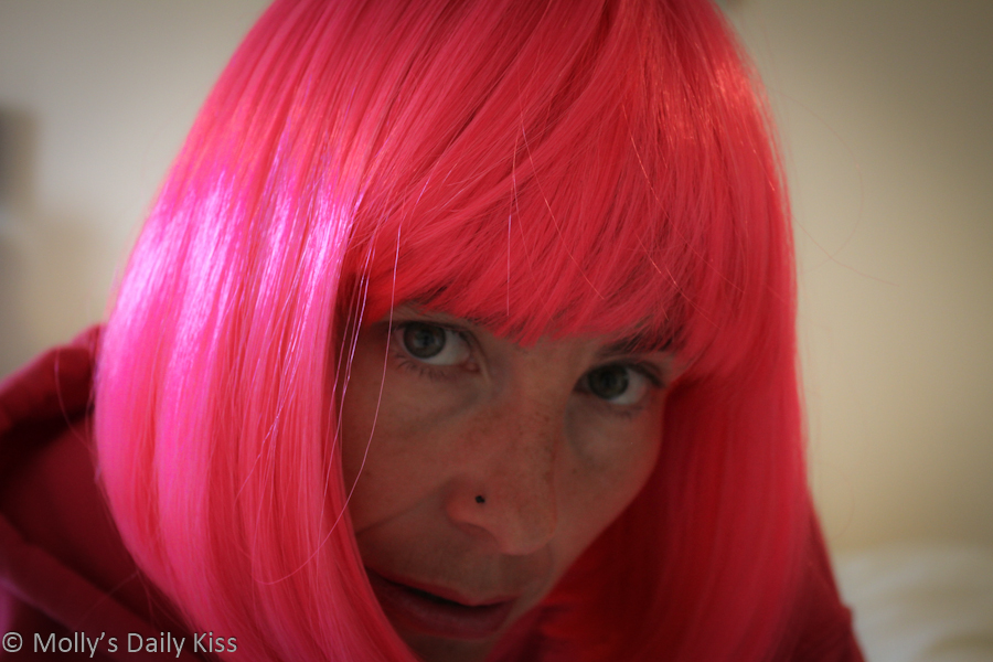 Self portrait wearing pig wig