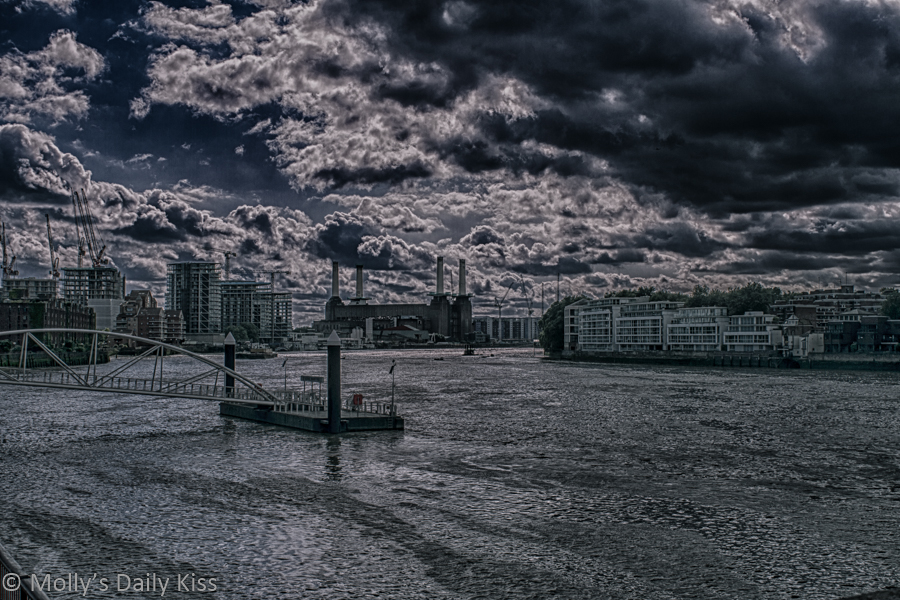 HDR view along to Thames to Battersea Power Station