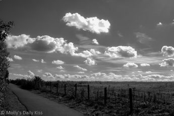 Fluffly clouds along footpath black and white