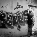 graffiti in abandoned house black and white