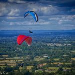 Paragliders over the South Downs