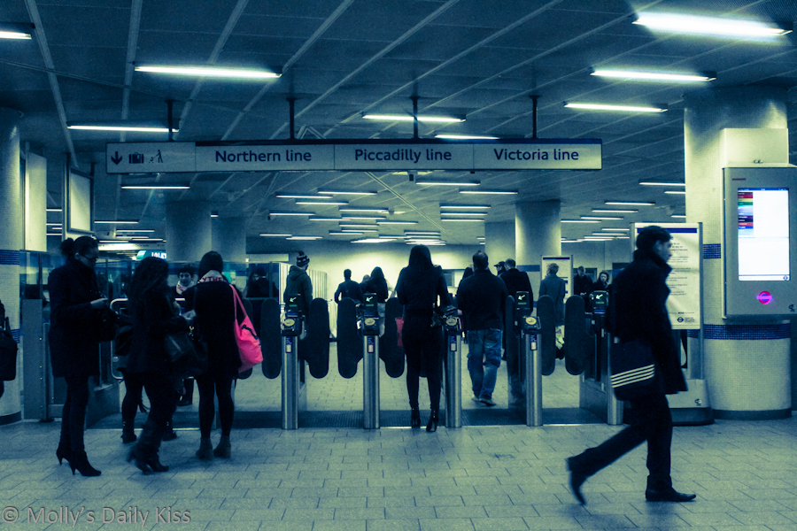 People in the underground at Kings Cross