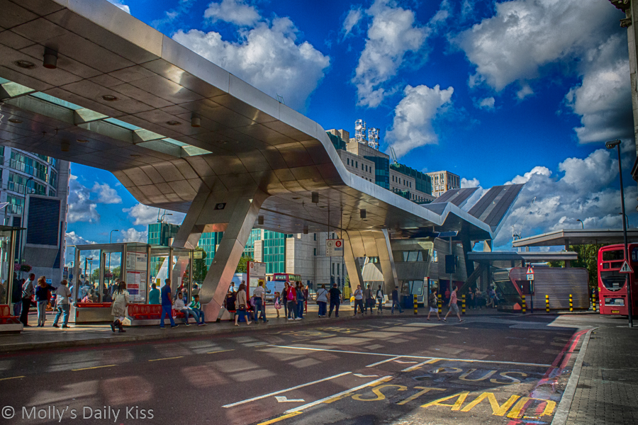 Vauxhall bus stop London in HDR