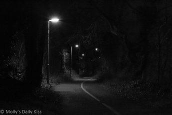 Dark footpath with street lights