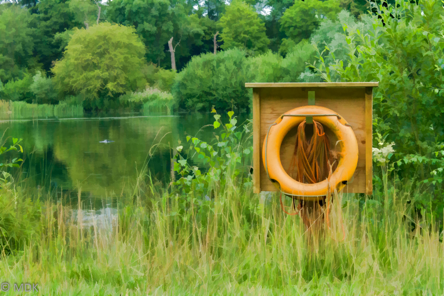 Life ring by pond photo edit like painting