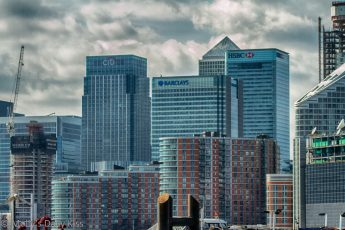 Skyline of City of London banks