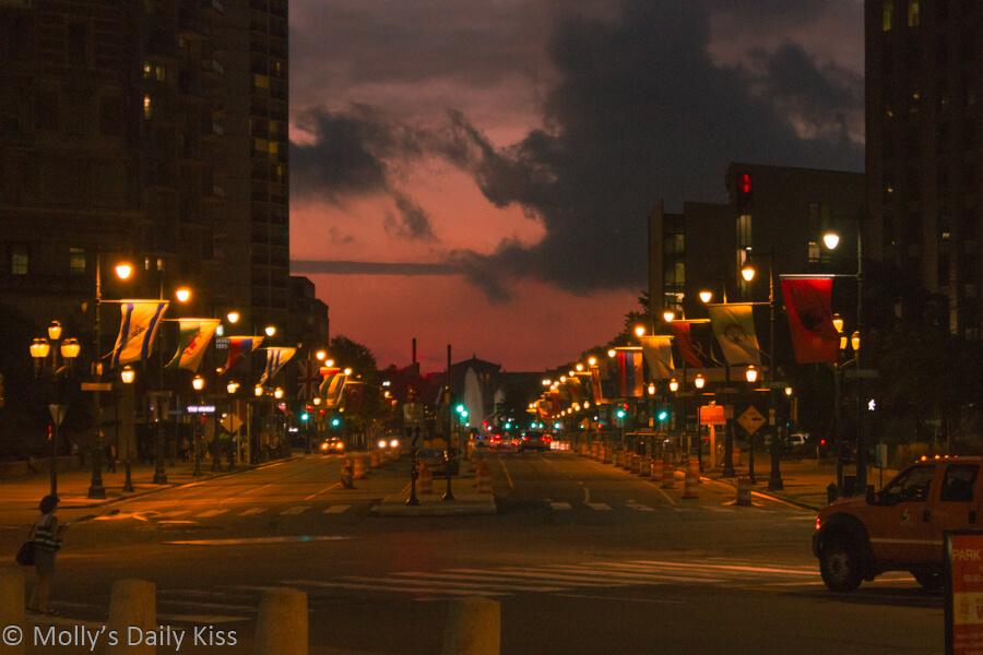Sunset over art musuem philadelphia