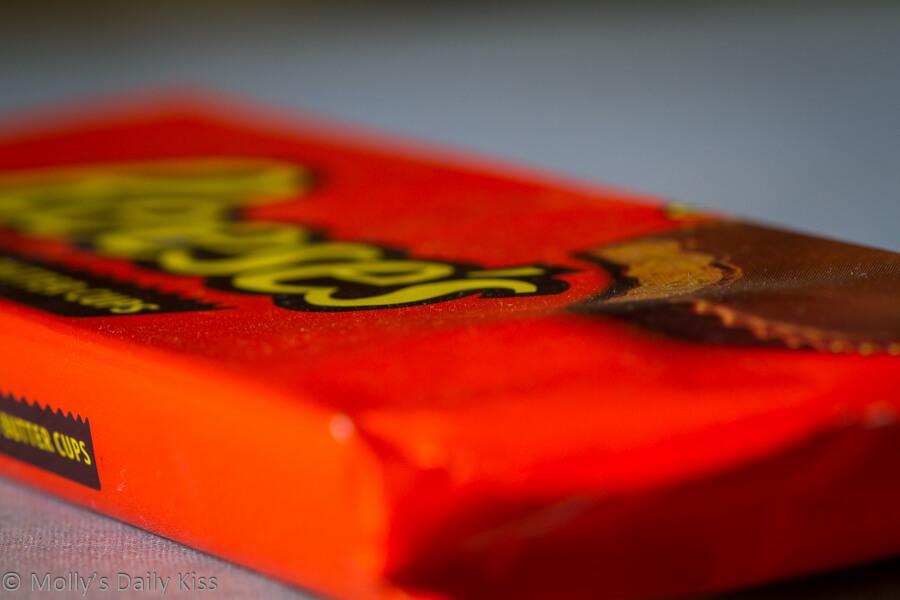 Macro shot of Reeces peanut buttercups packet