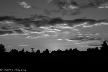 Black and white silhouette sunset over Tewin Hertfordshire