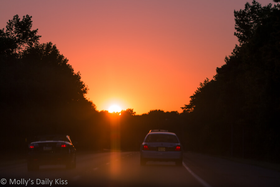 Driving into the setting sun