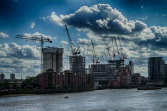 London South bank construction skyline in HDR