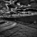 HDR black and white of country lane