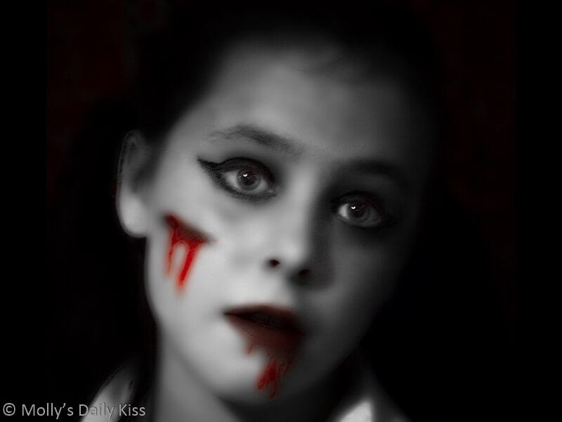 Girl with haunted halloween makeup